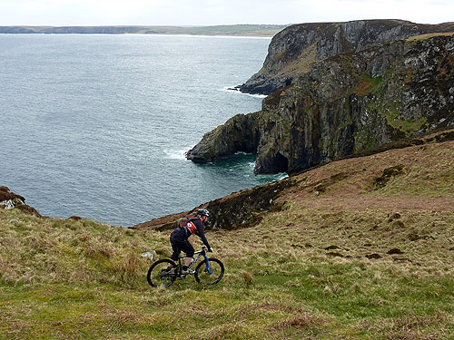 Steve nearing the end of the ride - Traigh Mhor in background